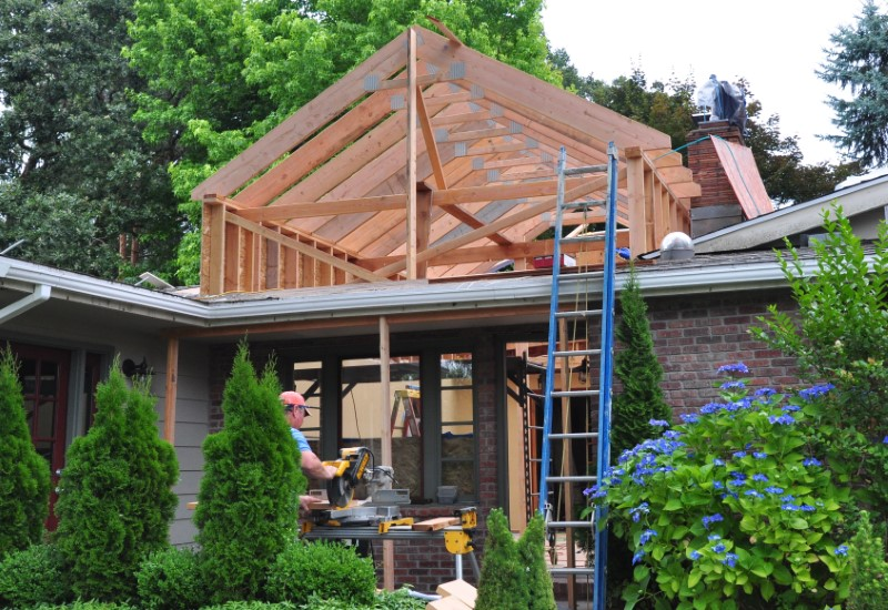 Two-Story library addition with cedar siding in gable end, Golden Rule Remodeling & Design, Salem Oregon