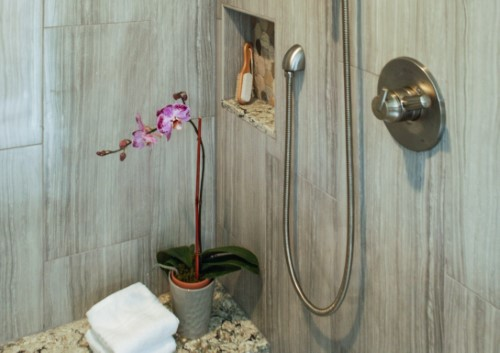 Aging in Place design, shower seat, niche, adjustable shower head, Golden Rule Remodeling & Design, Salem Oregon