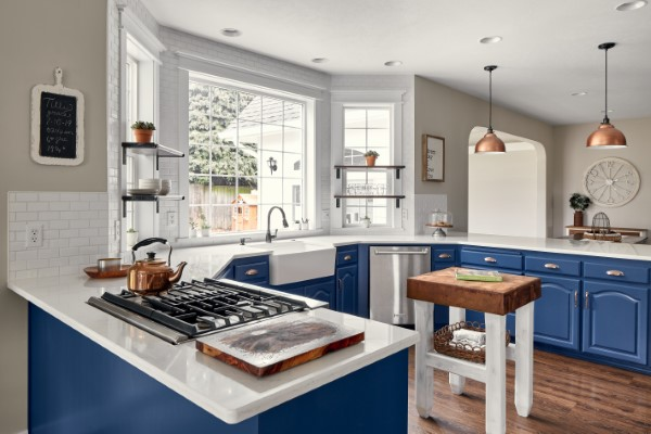 Farmhouse Blue and White Kitchen, Golden Rule Remodeling & Design, Stayton Oregon
