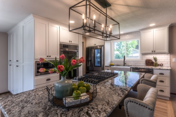 Classic Black and White Kitchen Remodel with large island, Golden Rule Remodeling & Design, Monmouth Oregon