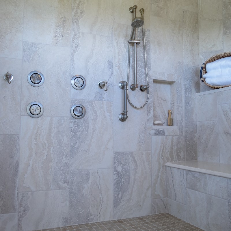 Aging in place update, curbless shower with seat and adjustable showerhead, Golden Rule Remodeling & Design, Salem Oregon
