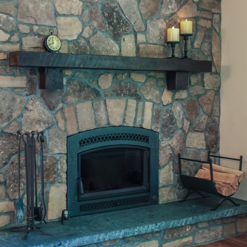 Fireplace remodel with stacked stone and rustic mantle, , Golden Rule Remodeling & Design, Silverton Oregon